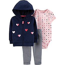 carter's® 3-Piece Heart Cardigan, Bodysuit and Pant Set in Navy