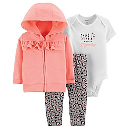 carter's® 3-Piece Cheetah Bodysuit, Cardigan and Pant Set in Coral
