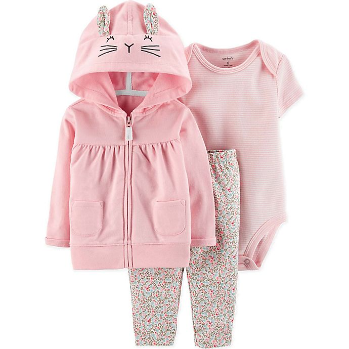 Alternate image 1 for carter's® 3-Piece Bunny Bodysuit, Cardigan and Pant Set in Pink
