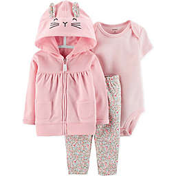 carter's® 3-Piece Bunny Bodysuit, Cardigan and Pant Set in Pink