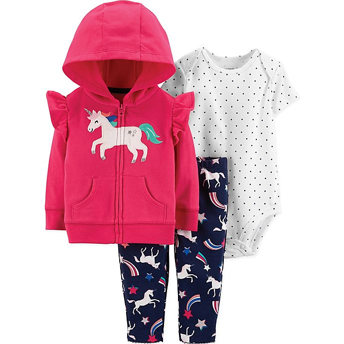Alternate image 1 for carter's® 3-Piece Unicorn Bodysuit, Cardigan and Pant Set in Pink