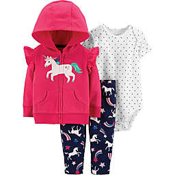 carter's® 3-Piece Unicorn Bodysuit, Cardigan and Pant Set in Pink