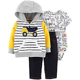 carter's® 3-Piece Dump Truck Hoodie, Bodysuit, and Pants Set in Yellow/Blue