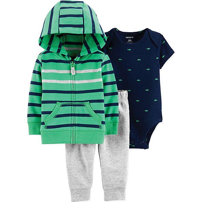 Alternate image 1 for carter's® 3-Piece Green Stripe Jacket Set