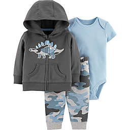 carter's® Camo Dinosaur 3-Piece Jacket Set in Grey