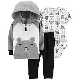 carter's® 3-Piece Bear Hoodie, Bodysuit, and Pants Set in Grey