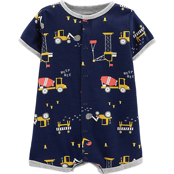 Alternate image 1 for carter's® Snap-Up Construction Romper in Navy