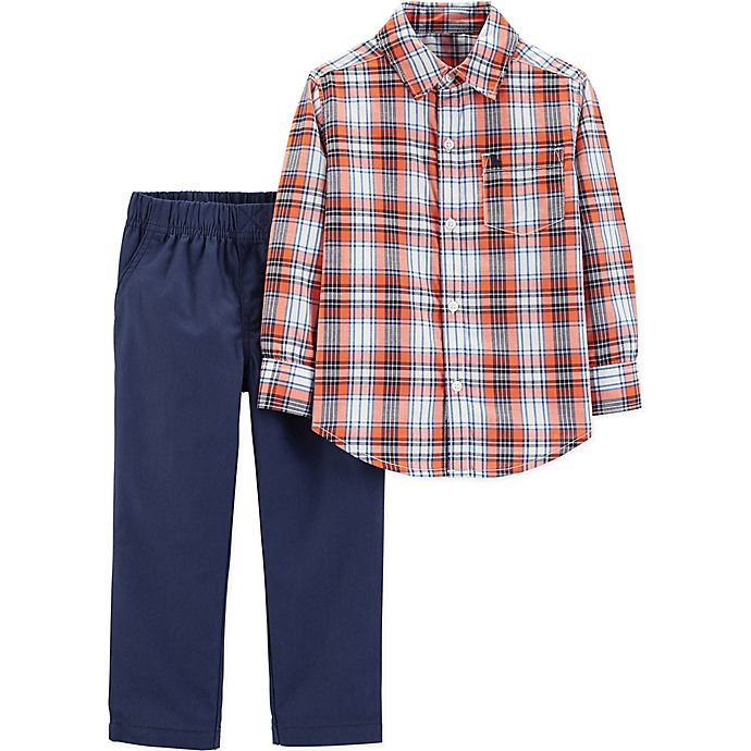 Alternate image 1 for carter's® 2-Piece Plaid Shirt and Pants Set