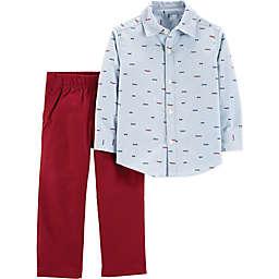 carter's® 2-Piece Schiffli Shirt and Pants Set in Light Blue/Red