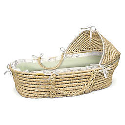 Badger Basket® Maize Hooded Moses Basket in Natural with Sage Gingham Bedding