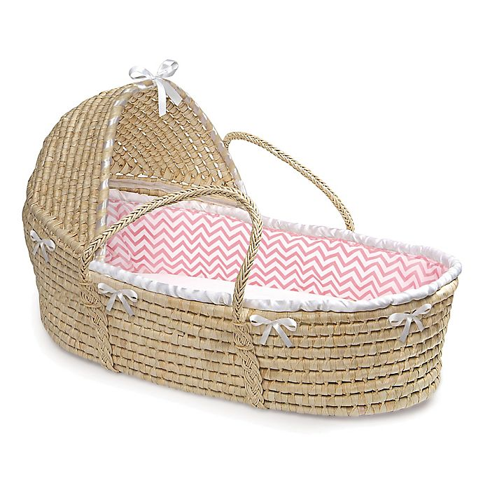 Alternate image 1 for Badger Basket® Maize Hooded Moses Basket in Natural with Pink Chevron Bedding