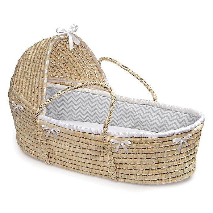 Alternate image 1 for Badger Basket® Maize Hooded Moses Basket in Grey Chevron