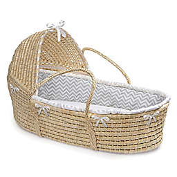 Badger Basket® Maize Hooded Moses Basket in Grey Chevron