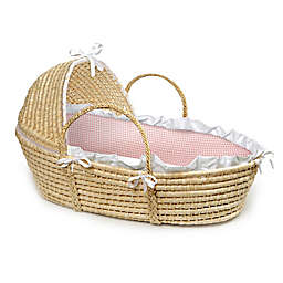 Badger Basket® Maize Hooded Moses Basket in Pink Gingham