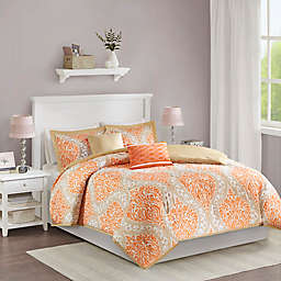 Intelligent Design Senna 4-Piece Reversible Twin/Twin XL Comforter Set in Orange