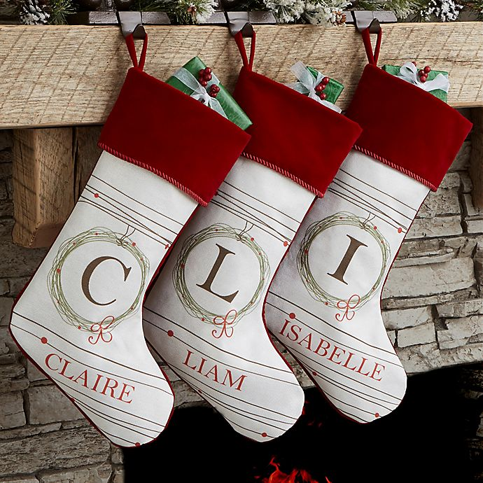 Alternate image 1 for Holiday Wreath Monogrammed Christmas Stocking
