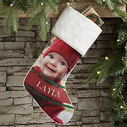 Holly Jolly Smile Personalized Photo Christmas Stocking