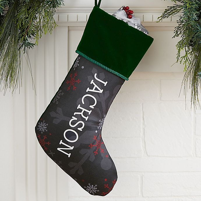 Alternate image 1 for Chalked Snowflakes Personalized Christmas Stocking in Green