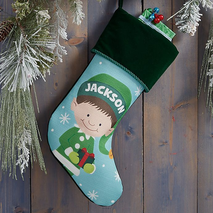 Alternate image 1 for Christmas Elf Characters Personalized Christmas Stocking