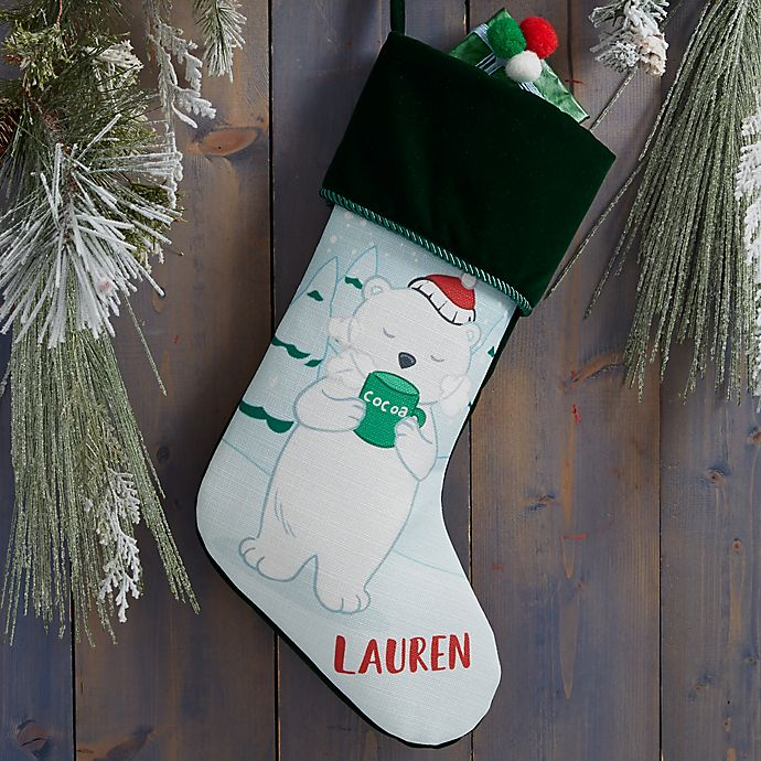 Alternate image 1 for Whimsical Winter Characters Personalized Christmas Stocking in Green