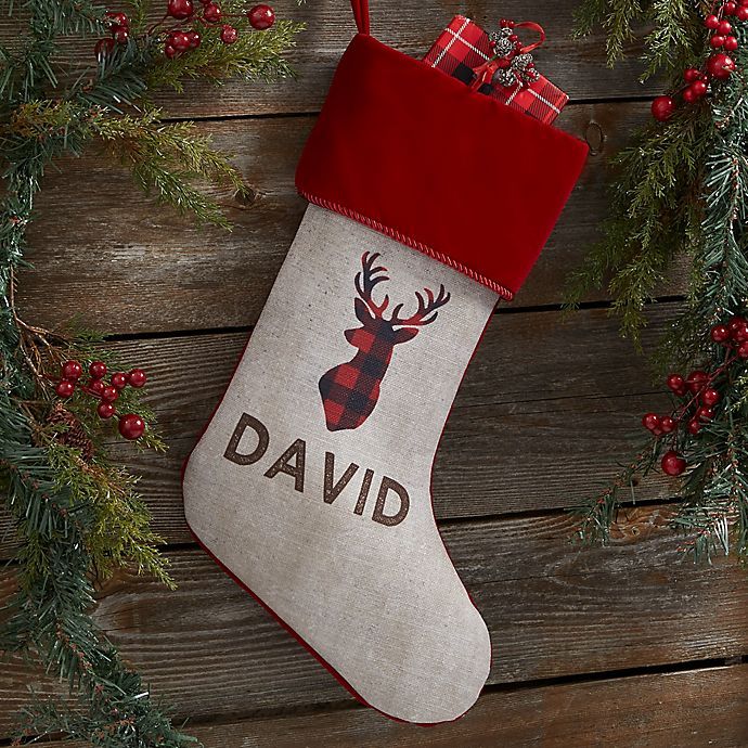 Alternate image 1 for Cozy Cabin Buffalo Check Personalized Christmas Stocking