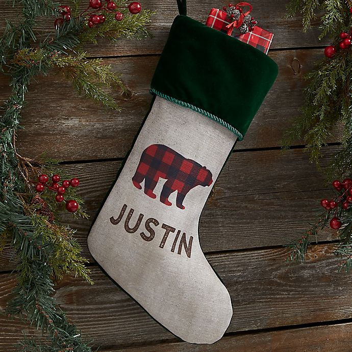 Alternate image 1 for Cozy Cabin Buffalo Check Personalized Christmas Stocking in Green