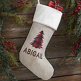 Cozy Cabin Buffalo Check Personalized Christmas Stocking