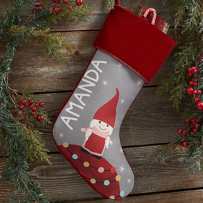 Alternate image 1 for Gnome Family Personalized Christmas Stocking
