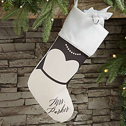 Bride & Groom Personalized Christmas Stocking in Ivory