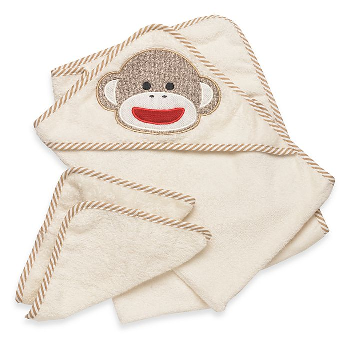 Alternate image 1 for Baby Starters® Sock Monkey Towel & Washcloth Set in Cream