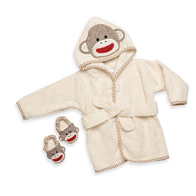 Baby Starters® Size 0-9M 2-Piece Sock Monkey Robe and Slippers Set in Cream