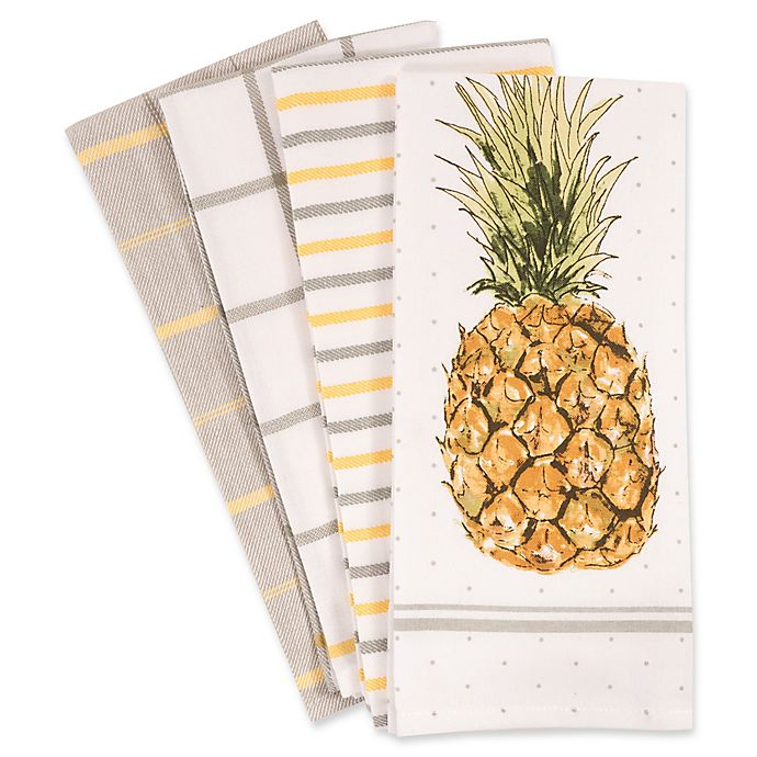 Alternate image 1 for Pineapple Kitchen Towels (Set of 4)