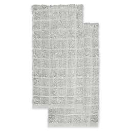 KitchenSmart® Colors 2-Pack Solid Windowpane Kitchen Towels in Silver