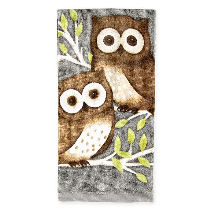 Alternate image 1 for KitchenSmart® Colors Painterly Owls Kitchen Towel in Grey
