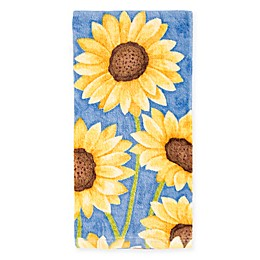 KitchenSmart® Colors Painterly Sunflowers Kitchen Towel in Blue Stripe
