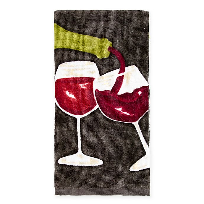 Alternate image 1 for KitchenSmart® Colors Painterly Wine Duo Kitchen Towel in Caviar