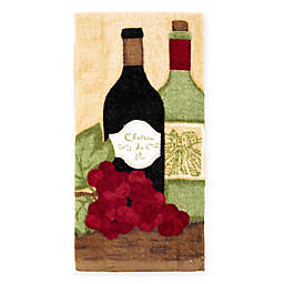 KitchenSmart® Colors Painterly Grapes and Wine Fiber Reactive Kitchen Towel in Paprika