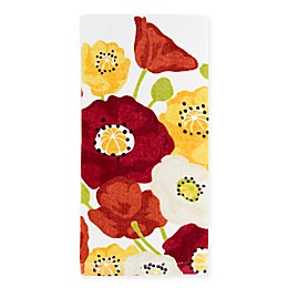 KitchenSmart® Colors Painterly Poppies Fiber Reactive Kitchen Towel in Paprika Stripe
