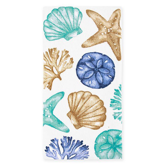 Alternate image 1 for KitchenSmart® Colors Painterly Shells Fiber Reactive Kitchen Towel in Surf Stripe