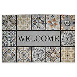"""Mohawk Home® Doorscapes Patina Tiles Welcome 23"""" x 35"""" Rubber Door Mat"""