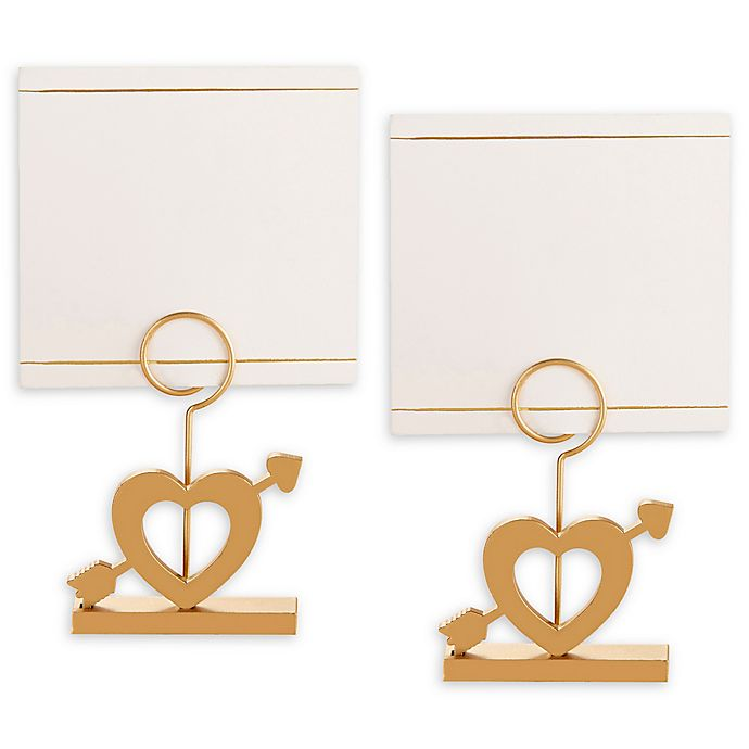 Alternate image 1 for Kate Aspen® Cupid's Arrow Place Card Holders in Gold/White (Set of 6)