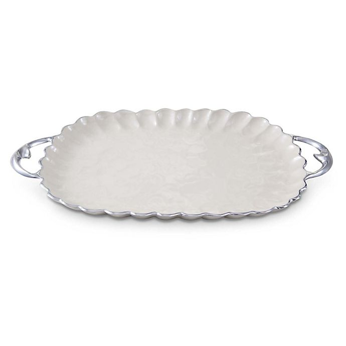 Alternate image 1 for Julia Knight® Peony 22.5-Inch Handled Tray in Snow