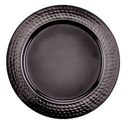 Old Dutch International Mirror Hammered Charger Plate in Black (Set of 6)