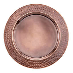 Old Dutch International Mirror Hammered Charger Plate in Antique Copper (Set of 6)