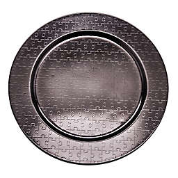 Old Dutch International Mirror Puzzle Piece Charger Plate in Black (Set of 6)