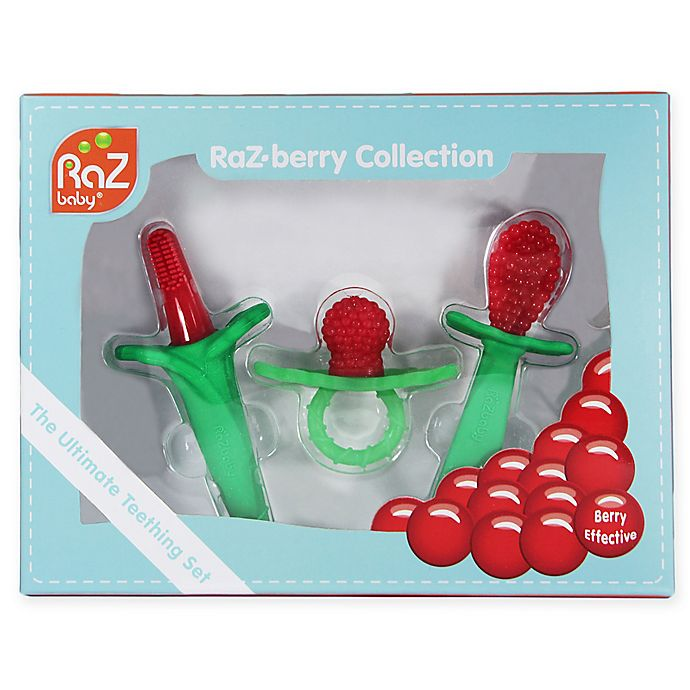 Alternate image 1 for RaZbaby 3-Pack Teething Gift Set in Red/Green