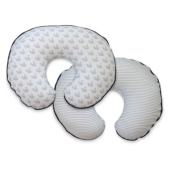 Alternate image 1 for Boppy® Organic Cotton Nursing Pillow Cover in Gray Little Whales