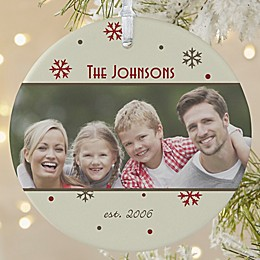 1-Sided Matte Photo Memories Personalized Snowflake Ornament- Large