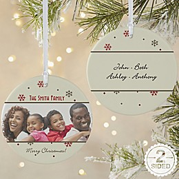 2-Sided Matte Photo Memories Personalized Snowflake Ornament- Large