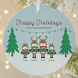 1-Sided Matte Reindeer Family Personalized Ornament- Large